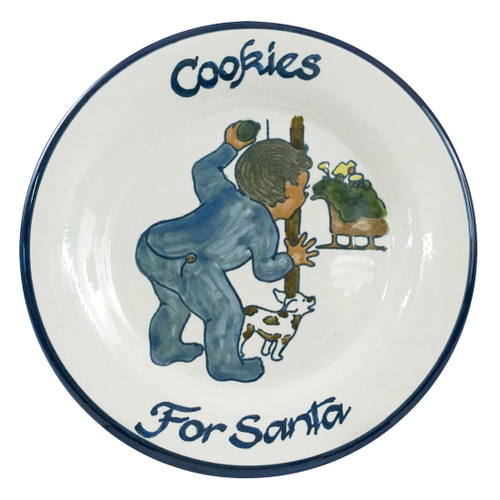 """9"""" Rimmed Plate with Boy Leaving Cookies for Santa"""