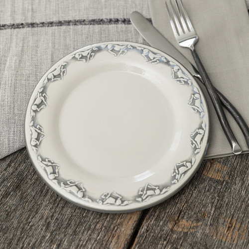"11"" Rimmed Plate in Embossed Running Horse"