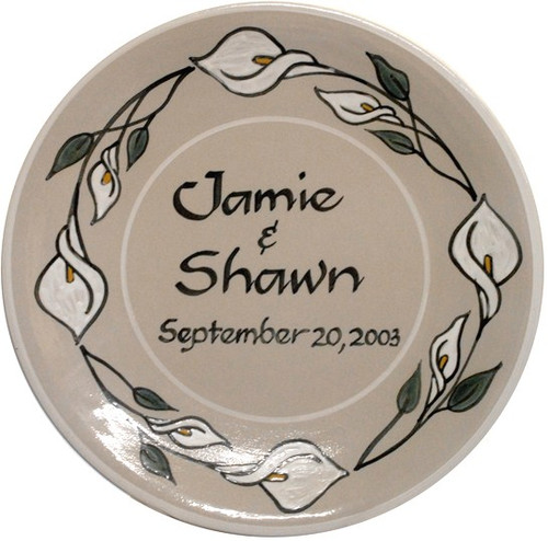 Personalized Plate with Calla Lilies