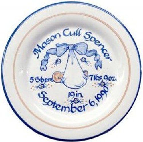 "Personalized 9"" Rimmed Birth Plate with Baby Blue Blanket"