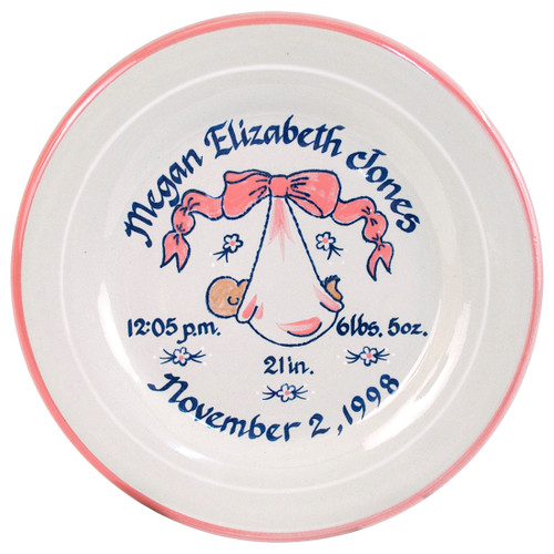 """Personalized 9"""" Rimmed Birth Plate with Baby Pink Blanket"""