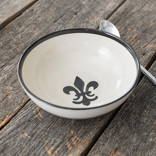 """9"""" Serving Bowl in Black Fleur de Lis"""