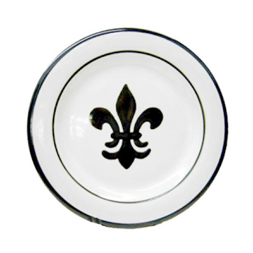 "11"" Rimmed Plate with Fleur de Lis in Black, Stoneware"
