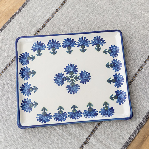 """14"""" Square Tray in Bachelor Button"""
