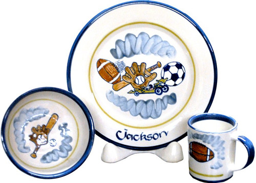 Personalized 3-Piece Child's Place Setting with Ball, Bat and Glove