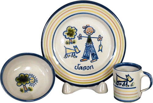 Personalized 3-Piece Child's Place Setting with Boy Stick Figure