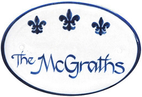 Personalized Door Plaque, Blue Fleur de Lis