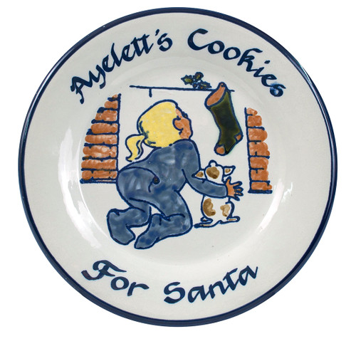 Personalized Stoneware Christmas Cookies for Santa Plate