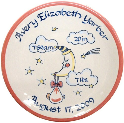 Personalized Baby Birth Plate in Pink