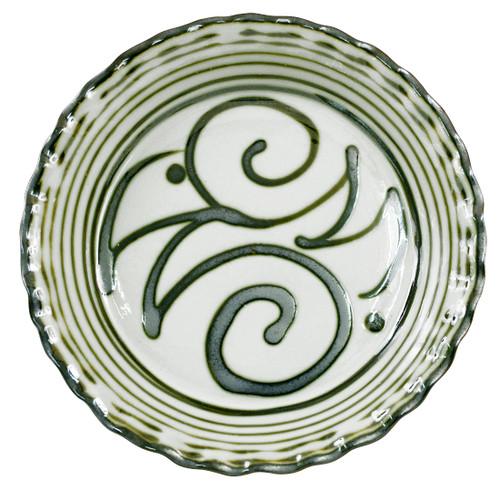Pinched Pie Plate in Graffiti Green, Stoneware Pie Plate in Graffiti Green