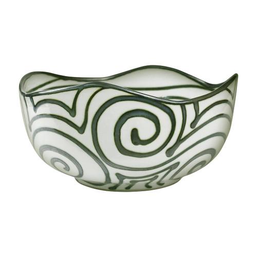 """14"""" Small Landscape Bowl in Graffiti Green"""