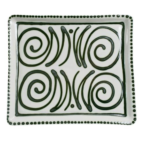 "14"" Square Tray in Graffiti Green, Stoneware Serving Tray"