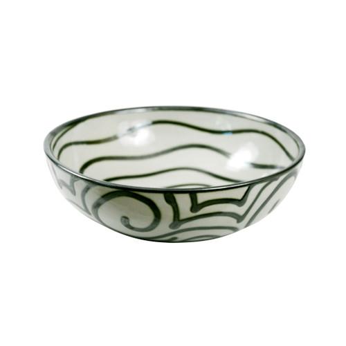 "11"" Salad Bowl in Graffiti Green, Stoneware Salad Bowl"