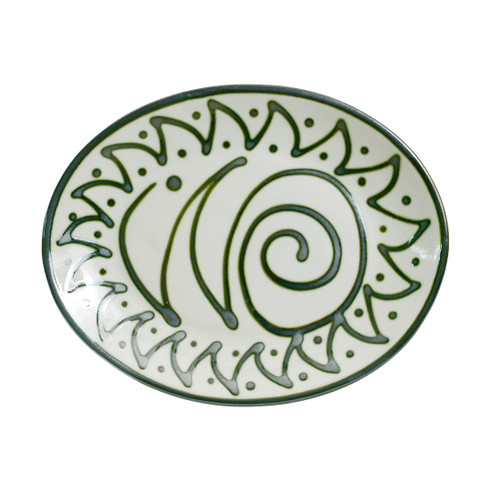 "Graffiti Green 12"" Oval Platter"