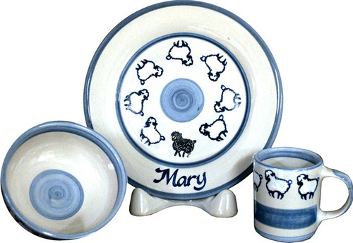 Personalized 3-Piece Child's Place Setting with Flock of Sheep
