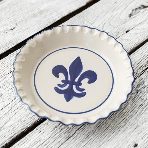 Thumb Print Pie Plate in Blue Fleur de Lis