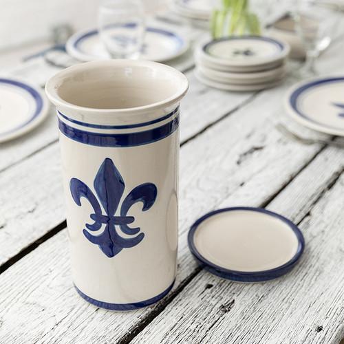 "10.5"" Wine Cooler & Saucer in Blue Fleur de Lis"