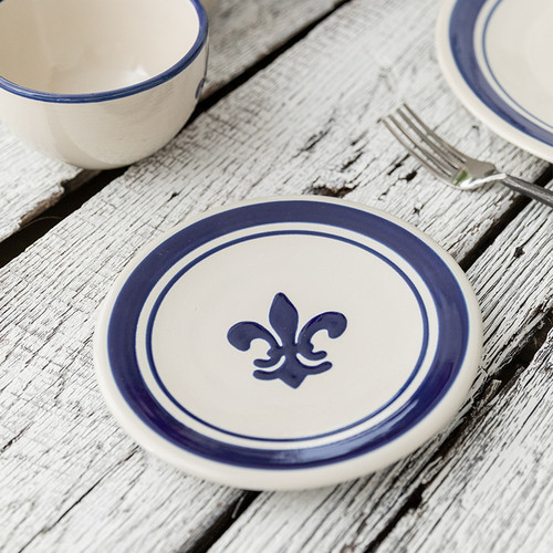 """7"""" Thin Plate in Blue Fleur De Lis"""