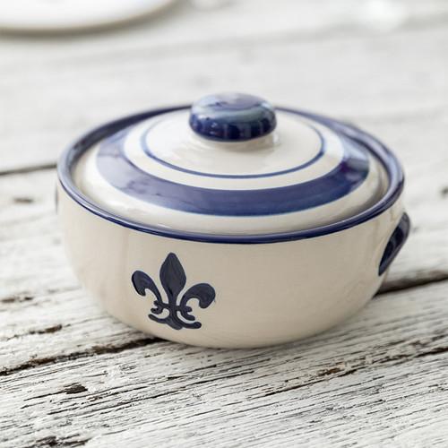 1 Qt. Casserole & Cover in Blue Fleur de Lis