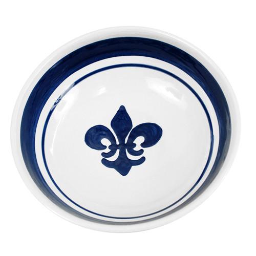 """11"""" Serving Bowl in Blue Fleur de Lis"""