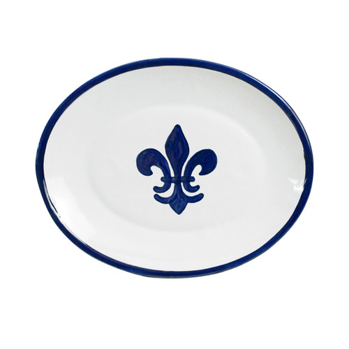 """12"""" Oval Platter in Blue Fleur de Lis"""