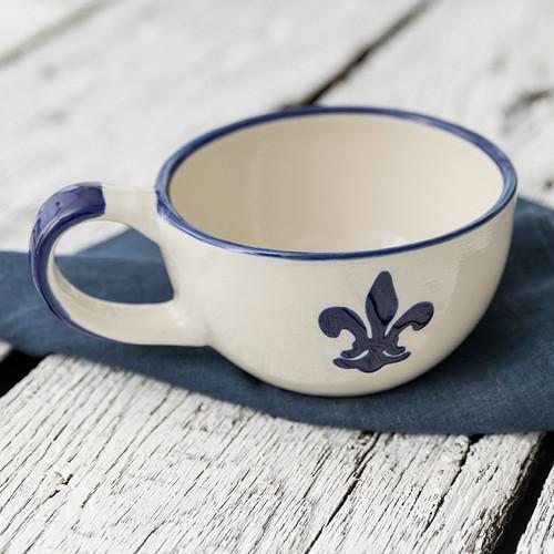 16 oz Bowl with Handle in Blue Fleur de Lis