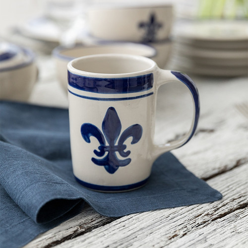 14 oz Mug in Blue Fleur de Lis