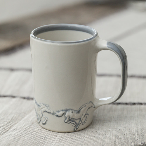 14 oz Mug in Embossed Running Horse
