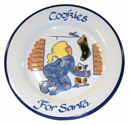 """9"""" Rimmed Plate with Girl Leaving Cookies for Santa"""