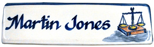 Personalized Name Plate with Scales of Justice