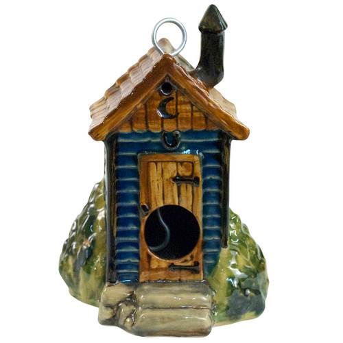"6.5"" Outhouse Birdhouse in Blue, The Jon Carloftis Collection"