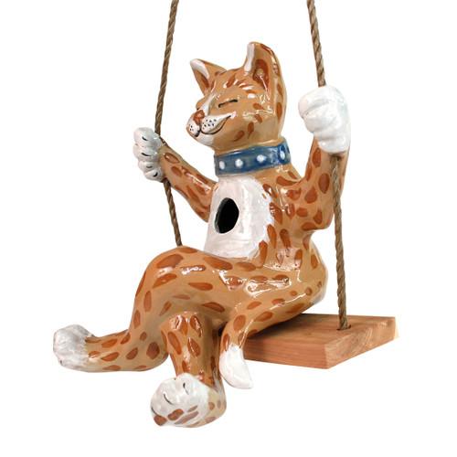 Swinging Cat Birdhouse