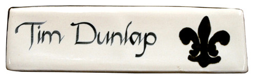 Personalized Name Plate in Black Fleur de Lis