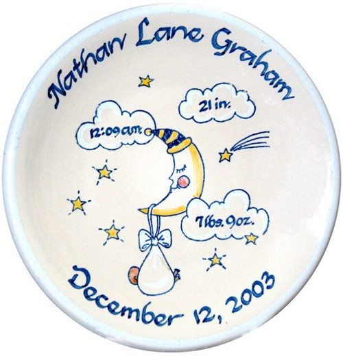 Personalized Baby Birth Plate in Blue