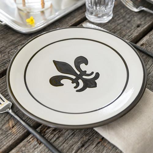 """11"""" Thin Plate in Black Fleur de Lis"""