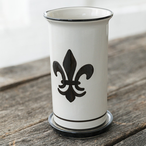 "10.5"" Wine Cooler & Saucer in Black Fleur de Lis"