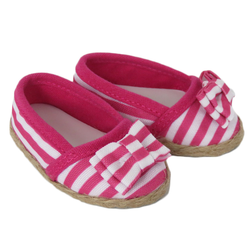 Dark Pink And White Striped Shoes