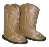 Tan 18 inch American Girl or Boy Doll Cowboy Boots.