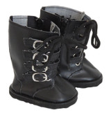 American Girl or boy doll boots with four straps.