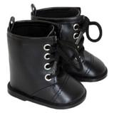 Black Combat Boots for AG girl or boy dolls.