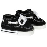 Black Boat Shoes for 18 inch dolls
