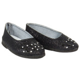 American Girl 18 inch doll shoes - Black Sparkle Floral Cutout Flats