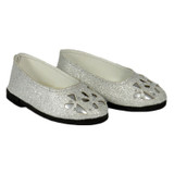 Silver Sparkle Floral Cutout Flats for 18 inch dolls