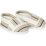 Cream and Brown Striped Slip-On Shoes for 18 inch dolls