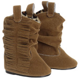 K21.  Suede Fringe Slouch Cowboy Boot