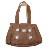 Fits 18 inch American Girl doll Includes: purse Brown purse with faux studs and Velcro dot closure.