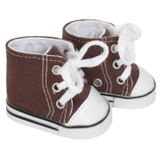 18 inch boy or girl doll shoes - Brown Hightop Sneakers
