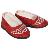 18-inch doll shoes - Red Sparkle and Rhinestone Flats