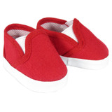 Red Canvas Slip-On Shoes for 18 inch American Girl or boy dolls.