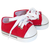 Red Low-Rise Sneakers for 18 inch American Girl or Boy doll.